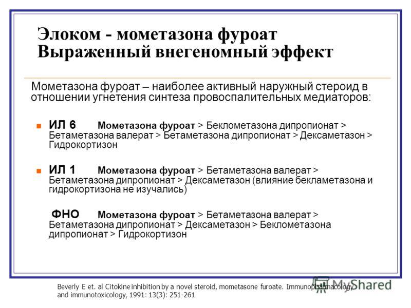 Элоком - мометазона фуроат Выраженный внегеномный эффект Мометазона фуроат – наиболее активный наружный стероид в отношении угнетения синтеза провоспалительных медиаторов: ИЛ 6 Мометазона фуроат > Беклометазона дипропионат > Бетаметазона валерат > Бе
