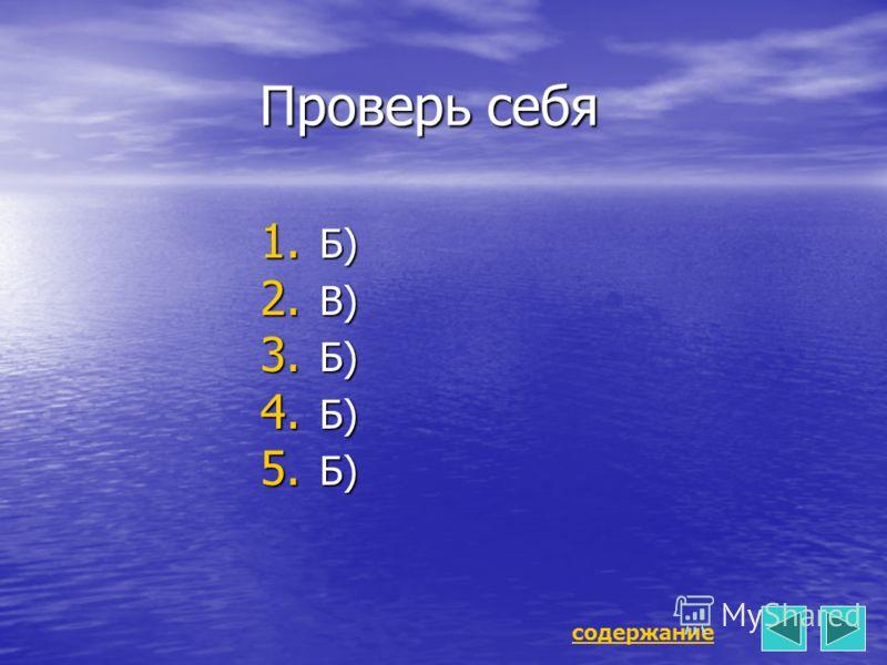 Проверь себя 1. Б) 2. В) 3. Б) 4. Б) 5. Б) содержание