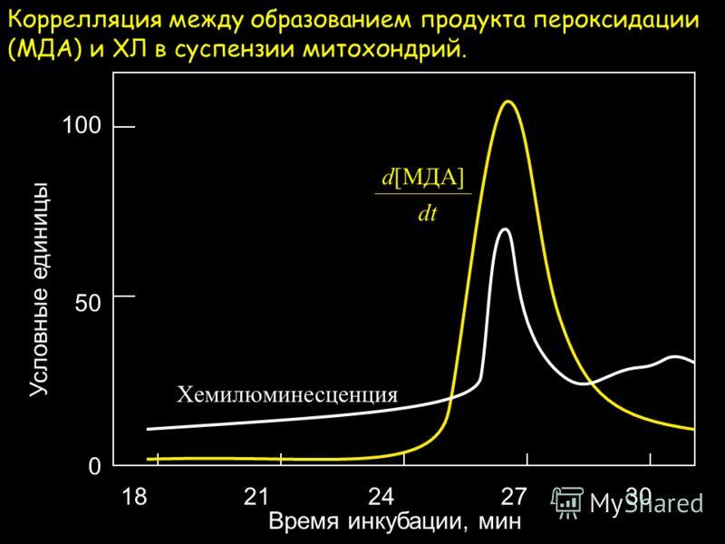 ХЛ и [O 2 ] (отн. ед.) Время инкубации, мин 369121518 Коррелляция между цепным окислением липидов и ХЛ в суспензии митохондрий к которым добавили ионы Fe 2+.