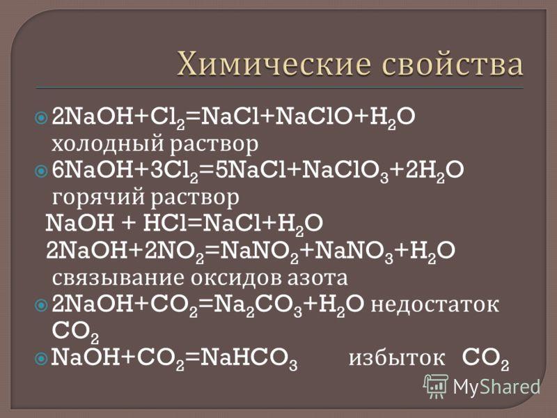 2NaOH+Cl 2 =NaCl+NaClO+H 2 O холодный раствор 6NaOH+3Cl 2 =5NaCl+NaClO 3 +2H 2 O горячий раствор NaOH + HCl=NaCl+H 2 O 2NaOH+2NO 2 =NaNO 2 +NaNO 3 +H 2 O связывание оксидов азота 2NaOH+CO 2 =Na 2 CO 3 +H 2 O недостаток CO 2 NaOH+CO 2 =NaHCO 3 избыток