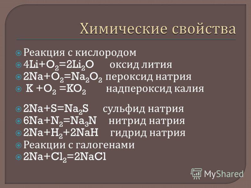 Реакция с кислородом 4Li+O 2 =2Li 2 O оксид лития 2Na+O 2 =Na 2 O 2 пероксид натрия K +O 2 =KO 2 надпероксид калия 2Na+S=Na 2 S сульфид натрия 6Na+N 2 =Na 3 N нитрид натрия 2Na+H 2 +2NaH гидрид натрия Реакции с галогенами 2Na+Cl 2 =2NaCl