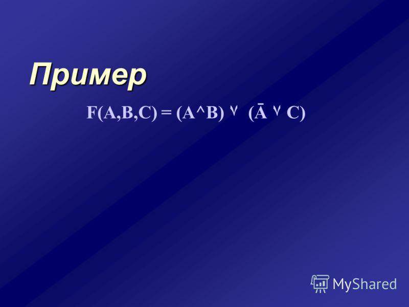 Пример F(A,B,C) = (A^B) ۷ (Ā ۷ C)