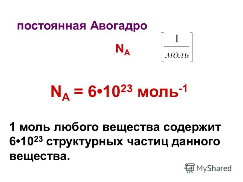 постоянная Авогадро NANA 1 моль любого вещества содержит 610 23 структурных частиц данного вещества. N A = 610 23 моль -1
