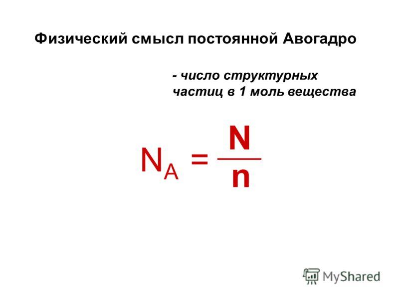 Физический смысл постоянной Авогадро - число структурных частиц в 1 моль вещества NANA = N n