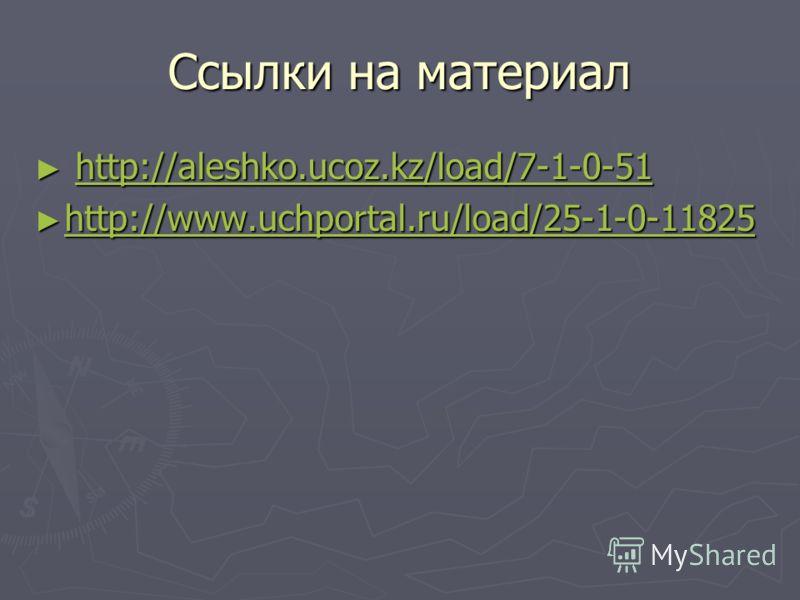 Ссылки на материал http://aleshko.ucoz.kz/load/7-1-0-51 http://aleshko.ucoz.kz/load/7-1-0-51http://aleshko.ucoz.kz/load/7-1-0-51 http://www.uchportal.ru/load/25-1-0-11825 http://www.uchportal.ru/load/25-1-0-11825 http://www.uchportal.ru/load/25-1-0-1