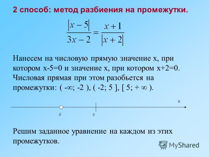 2 способ: метод разбиения на промежутки. Нанесем на числовую прямую значение х, при котором х-5=0 и значение х, при котором х+2=0. Числовая прямая при этом разобьется на промежутки: ( -; -2 ), ( -2; 5 ], [ 5; + ). Х -2 5 Решим заданное уравнение на к
