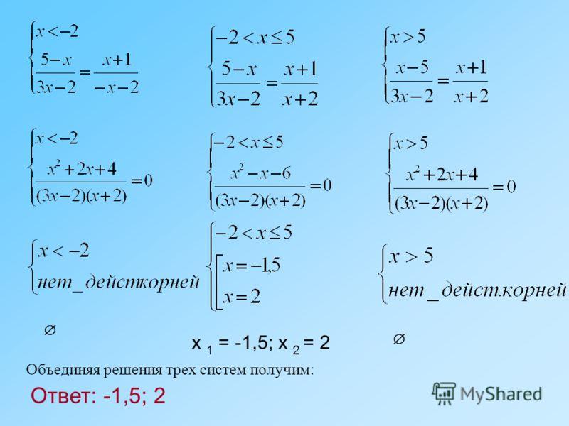 x 1 = -1,5; x 2 = 2 Объединяя решения трех систем получим: Ответ: -1,5; 2