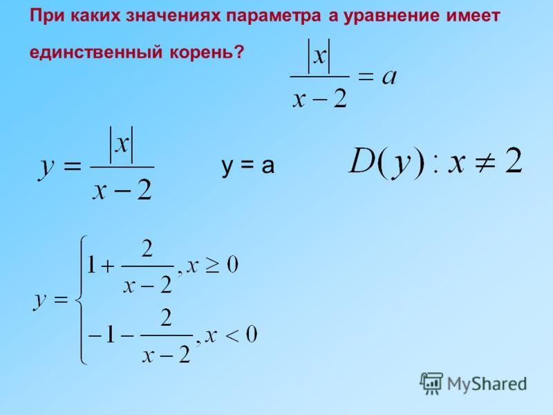 При каких значениях параметра а уравнение имеет единственный корень? y = a