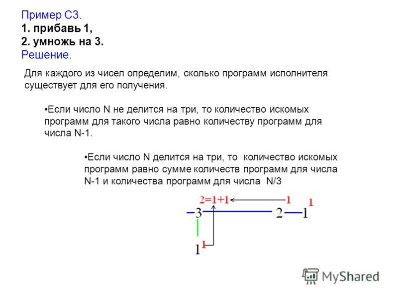 Пример С3. 1. прибавь 1, 2. умножь на 3. Решение. Для каждого из чисел определим, сколько программ исполнителя существует для его получения. Если число N не делится на три, то количество искомых программ для такого числа равно количеству программ для