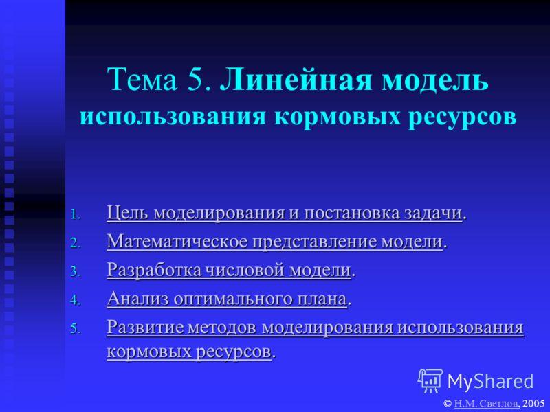 Тема 5. Линейная модель использования кормовых ресурсов 1. Цель моделирования и постановка задачи. Цель моделирования и постановка задачи Цель моделирования и постановка задачи 2. Математическое представление модели. Математическое представление моде