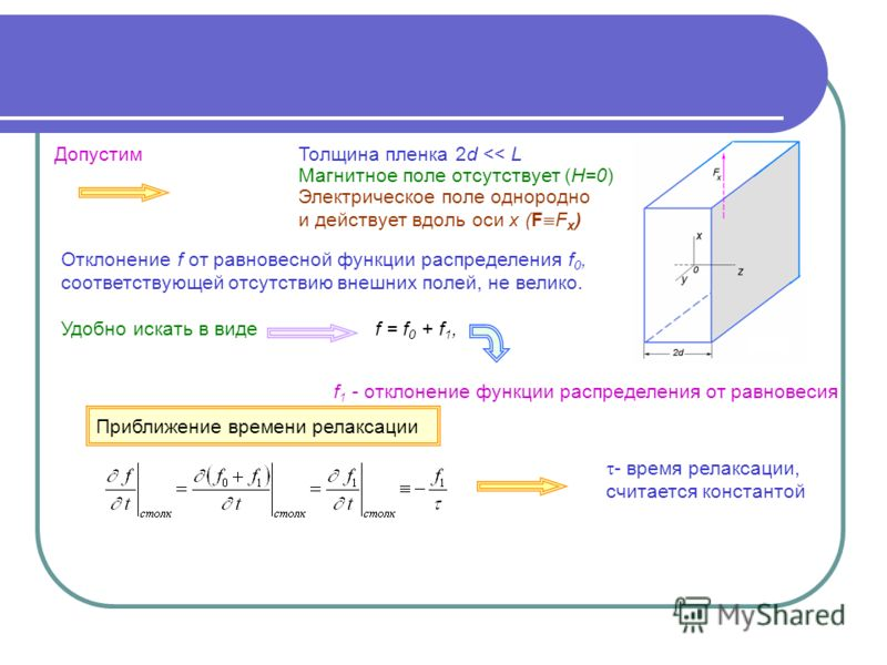 Электрическое поле однородно и действует вдоль оси х (F F x ) Отклонение f от равновесной функции распределения f 0, соответствующей отсутствию внешних полей, не велико. Удобно искать в видеf = f 0 + f 1, f 1 - отклонение функции распределения от рав
