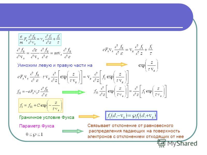 Умножим левую и правую части на Граничное условие Фукса Связывает отклонение от равновесного распределения падающих на поверхность электронов с отклонением отходящих от нее Параметр Фукса