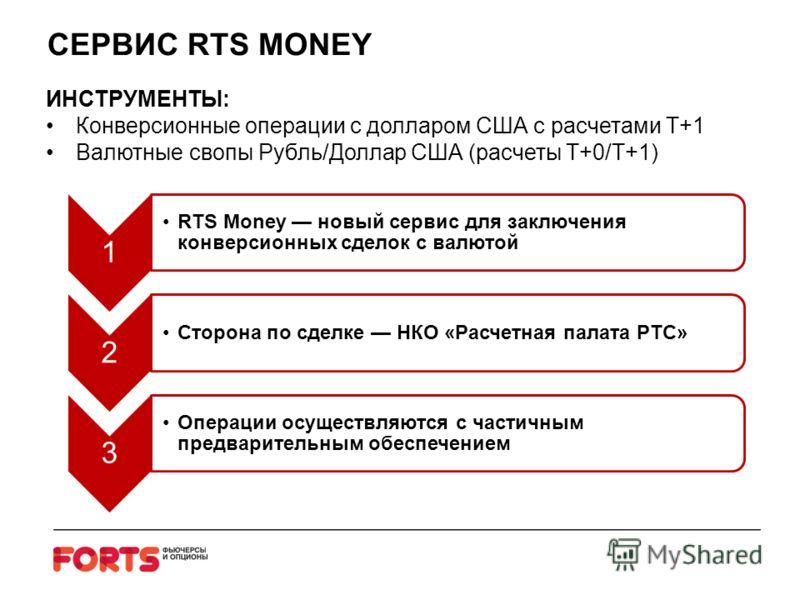 СЕРВИС RTS MONEY ИНСТРУМЕНТЫ: Конверсионные операции с долларом США с расчетами Т+1 Валютные свопы Рубль/Доллар США (расчеты T+0/T+1) 1 RTS Money новый сервис для заключения конверсионных сделок с валютой 2 Сторона по сделке НКО «Расчетная палата РТС