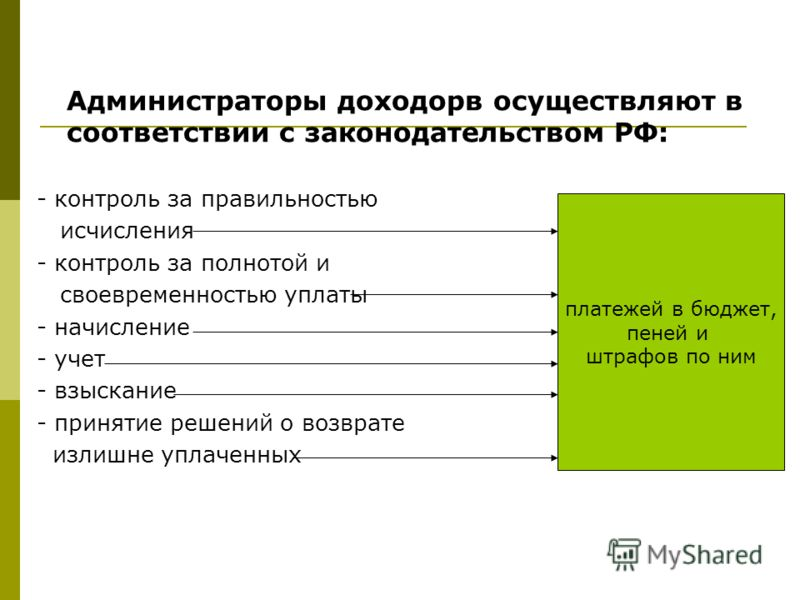 Администраторы доходорв осуществляют в соответствии с законодательством РФ: - контроль за правильностью исчисления - контроль за полнотой и своевременностью уплаты - начисление - учет - взыскание - принятие решений о возврате излишне уплаченных плате