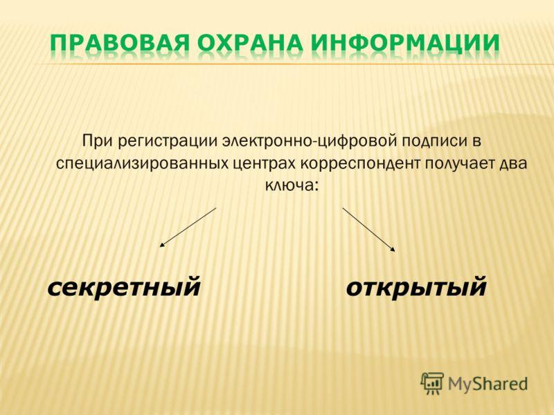При регистрации электронно-цифровой подписи в специализированных центрах корреспондент получает два ключа: секретныйоткрытый