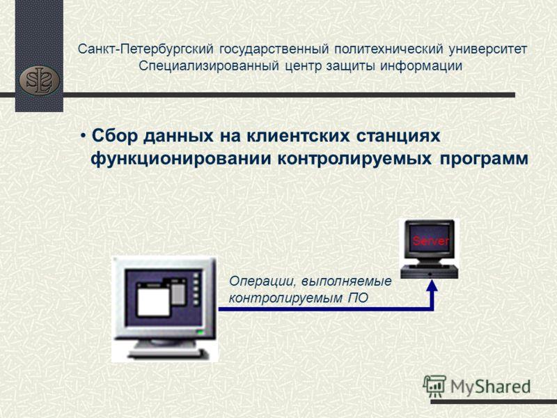 Санкт-Петербургский государственный политехнический университет Специализированный центр защиты информации Операции, выполняемые контролируемым ПО Сбор данных на клиентских станциях функционировании контролируемых программ Server