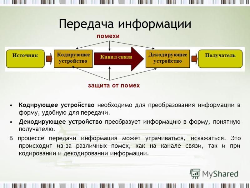 Передача информации Кодирующее устройство необходимо для преобразования информации в форму, удобную для передачи. Декодирующее устройство преобразует информацию в форму, понятную получателю. В процессе передачи информация может утрачиваться, искажать