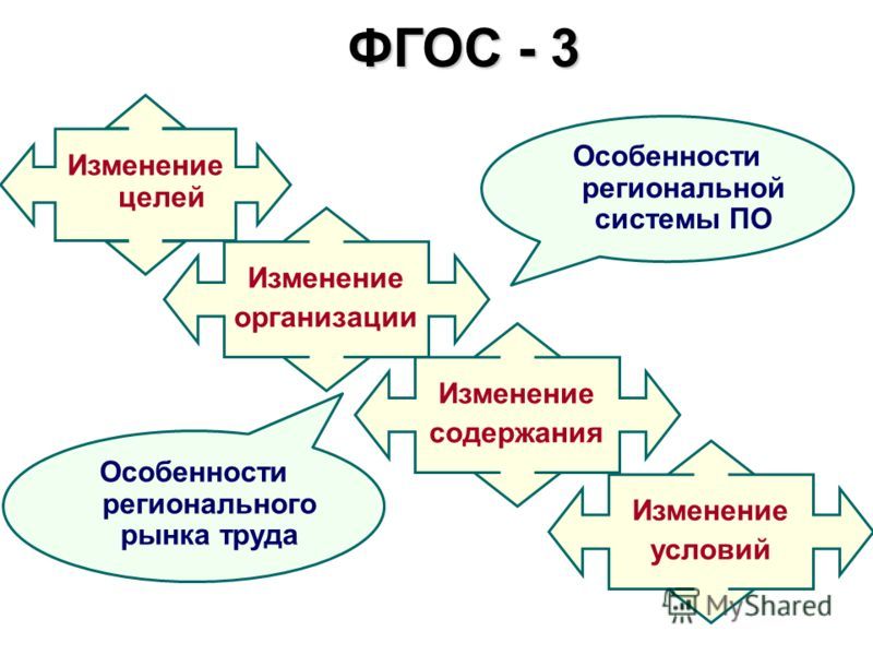 ФГОС - 3 Изменение целей Изменение организации Изменение содержания Изменение условий Особенности регионального рынка труда Особенности региональной системы ПО