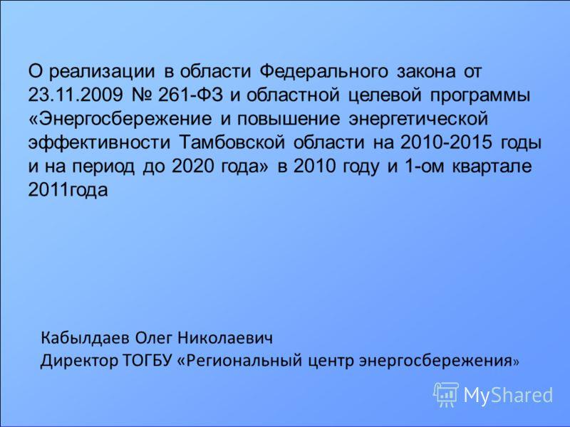 О реализации в области Федерального закона от 23.11.2009 261-ФЗ и областной целевой программы «Энергосбережение и повышение энергетической эффективности Тамбовской области на 2010-2015 годы и на период до 2020 года» в 2010 году и 1-ом квартале 2011го