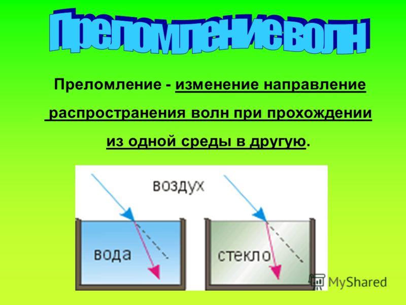 Преломление - изменение направление распространения волн при прохождении из одной среды в другую.