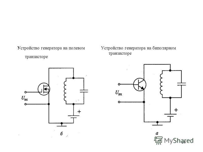 26 Устройство генератора на полевом транзисторе Устройство генератора на биполярном транзисторе