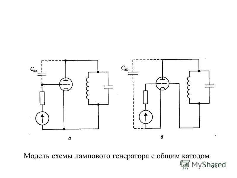 38 Модель схемы лампового генератора с общим катодом
