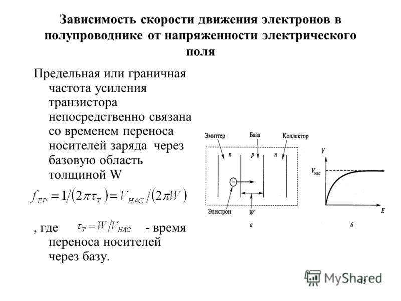 45 Зависимость скорости движения электронов в полупроводнике от напряженности электрического поля Предельная или граничная частота усиления транзистора непосредственно связана со временем переноса носителей заряда через базовую область толщиной W, гд