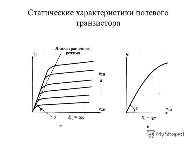 49 Статические характеристики полевого транзистора