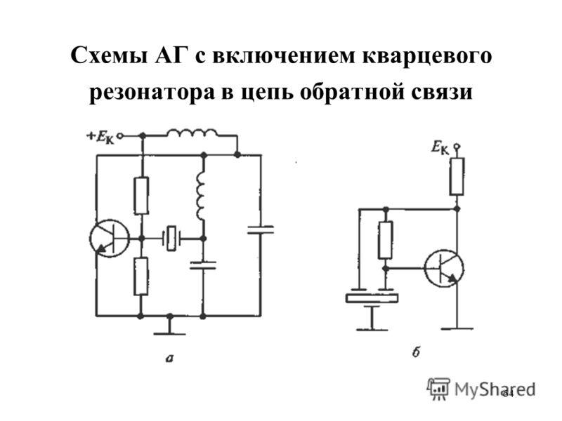 64 Схемы АГ с включением кварцевого резонатора в цепь обратной связи