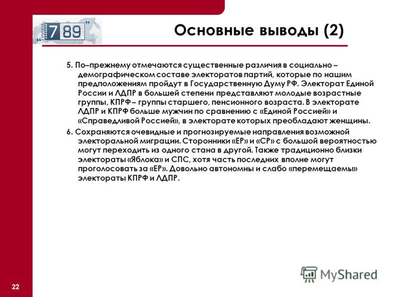 22 Основные выводы (2) 5. По–прежнему отмечаются существенные различия в социально – демографическом составе электоратов партий, которые по нашим предположениям пройдут в Государственную Думу РФ. Электорат Единой России и ЛДПР в большей степени предс