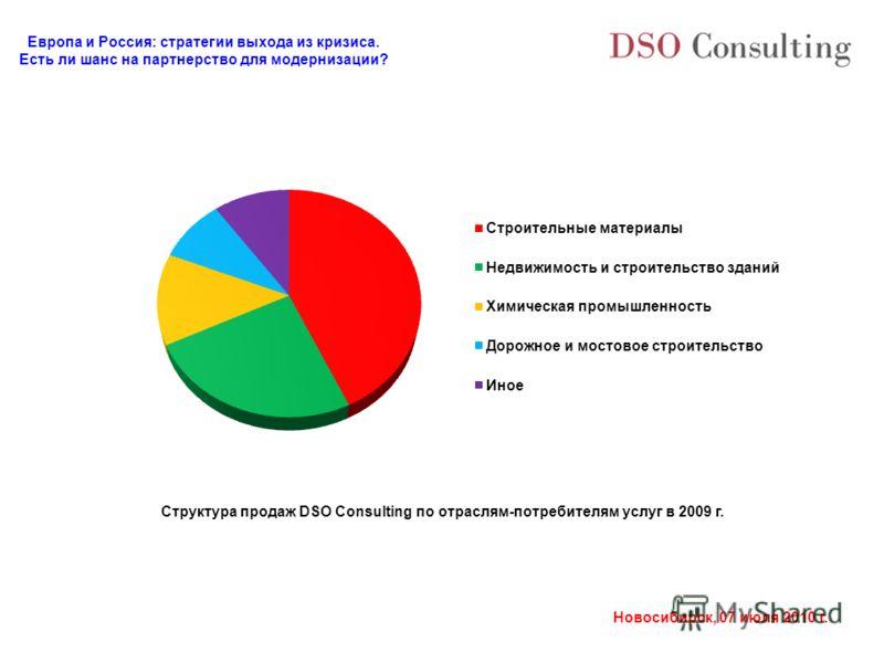 Европа и Россия: стратегии выхода из кризиса. Есть ли шанс на партнерство для модернизации? Новосибирск, 07 июля 2010 г. Структура продаж DSO Consulting по отраслям-потребителям услуг в 2009 г.