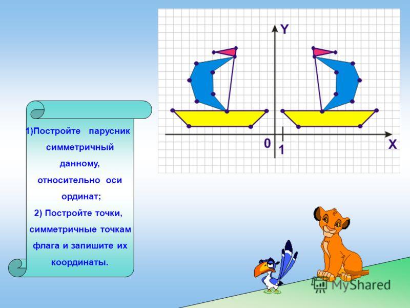 1)Постройте парусник симметричный данному, относительно оси ординат; 2) Постройте точки, симметричные точкам флага и запишите их координаты.