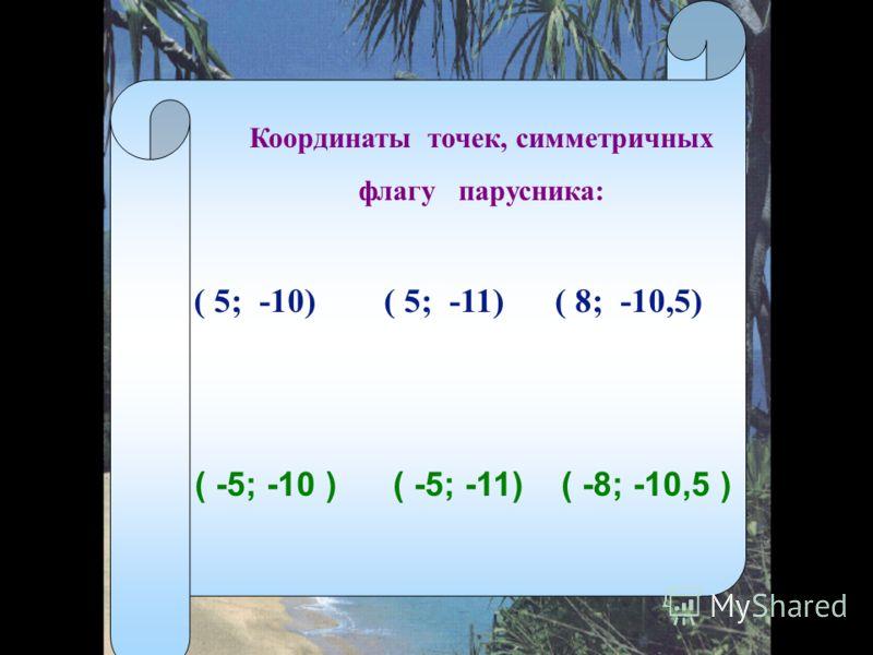 Координаты точек, симметричных флагу парусника: ( 5; -10) ( 5; -11) ( 8; -10,5) ( -5; -10 ) ( -5; -11) ( -8; -10,5 )