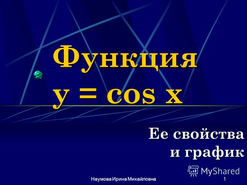 Наумова Ирина Михайловна1 Функция y = cos x Ее свойства и график