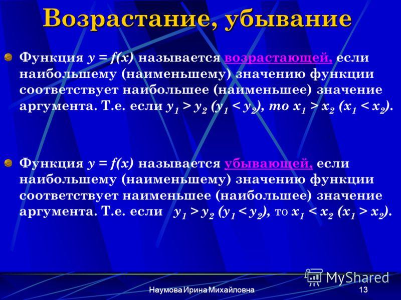 Наумова Ирина Михайловна13 Возрастание, убывание Функция y = f(x) называется возрастающей, если наибольшему (наименьшему) значению функции соответствует наибольшее (наименьшее) значение аргумента. Т.е. если у 1 > y 2 (y 1 x 2 (x 1 < x 2 ). Функция y