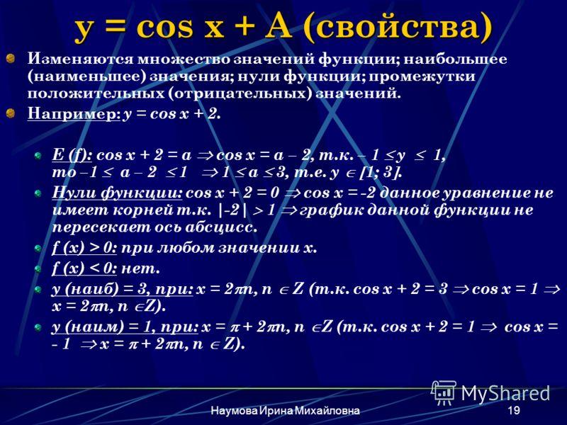 Наумова Ирина Михайловна19 y = cos x + A (свойства) Изменяются множество значений функции; наибольшее (наименьшее) значения; нули функции; промежутки положительных (отрицательных) значений. Например: y = cos x + 2. E (f): cos x + 2 = a cos x = a – 2,