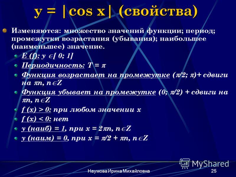 Наумова Ирина Михайловна25 y = |cos x| (свойства) Изменяются: множество значений функции; период; промежутки возрастания (убывания); наибольшее (наименьшее) значение. E (f): y [ 0; 1] Периодичность: Т = Функция возрастает на промежутке ( /2; )+ сдвиг