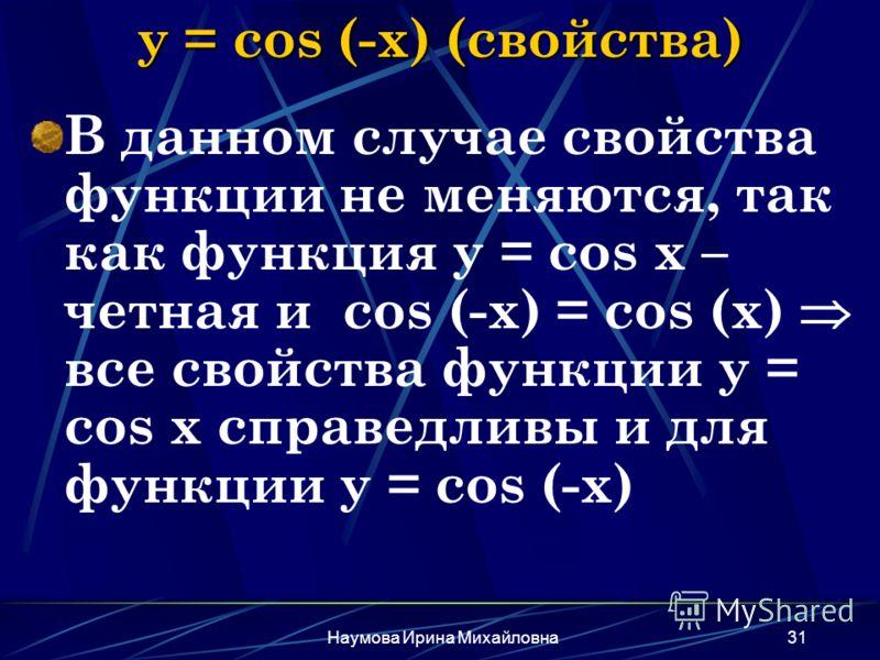 Наумова Ирина Михайловна31 y = cos (-x) (свойства) В данном случае свойства функции не меняются, так как функция y = cos x – четная и cos (-x) = cos (x) все свойства функции y = cos x справедливы и для функции y = cos (-x)