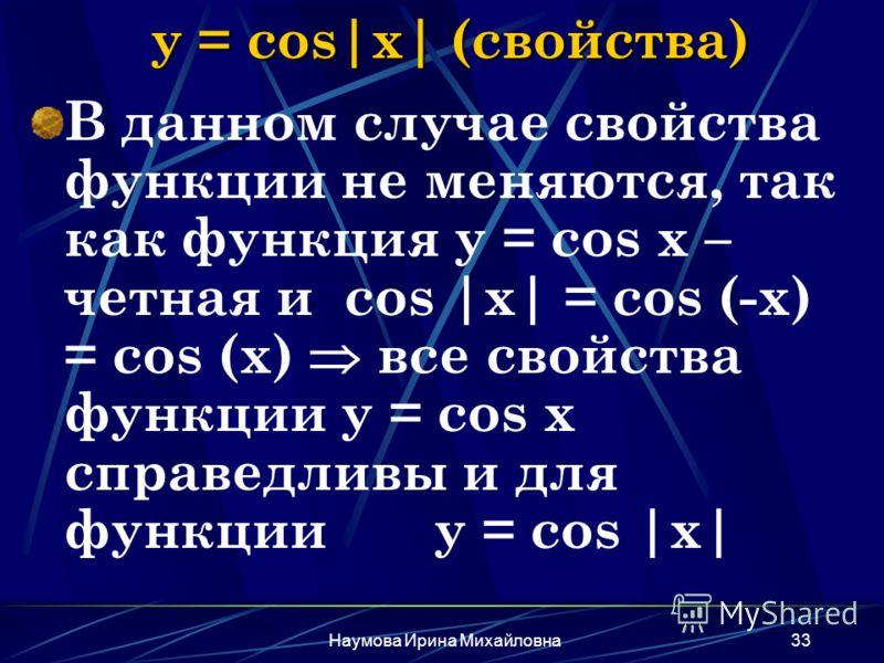 Наумова Ирина Михайловна33 y = cos|x| (свойства) В данном случае свойства функции не меняются, так как функция y = cos x – четная и cos |x| = cos (-x) = cos (x) все свойства функции y = cos x справедливы и для функции y = cos |x|