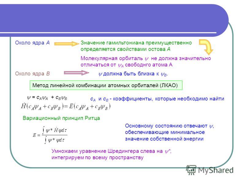 должна быть близка к В. Метод линейной комбинации атомных орбиталей (ЛКАО) = с А А + с В В с А и с В - коэффициенты, которые необходимо найти Вариационный принцип Ритца Основному состоянию отвечают, обеспечивающие минимальное значение собственной эне