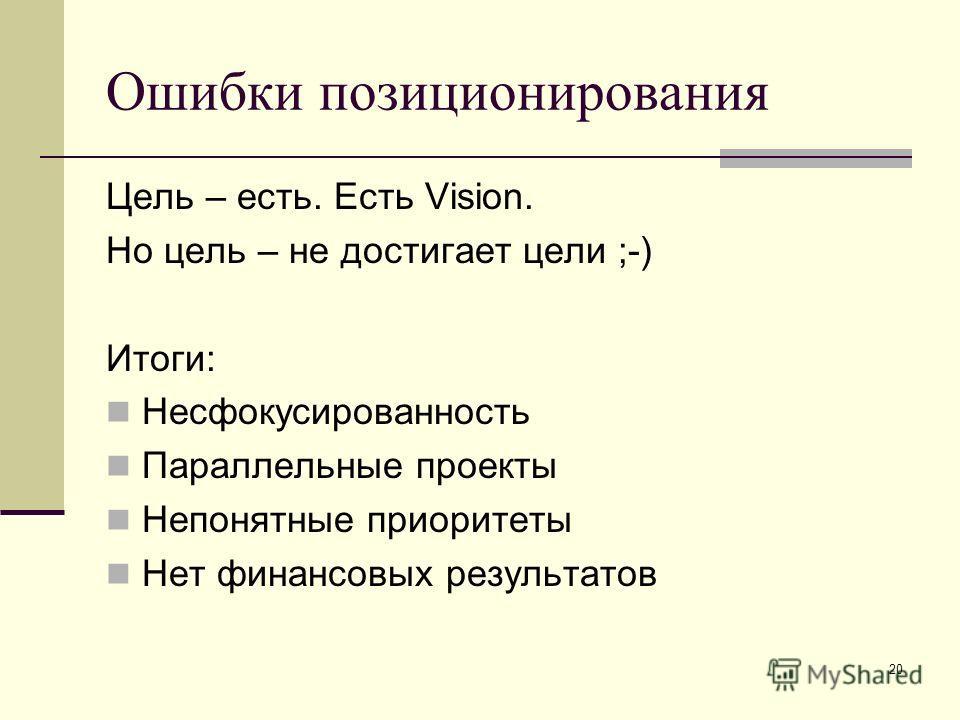 20 Ошибки позиционирования Цель – есть. Есть Vision. Но цель – не достигает цели ;-) Итоги: Несфокусированность Параллельные проекты Непонятные приоритеты Нет финансовых результатов