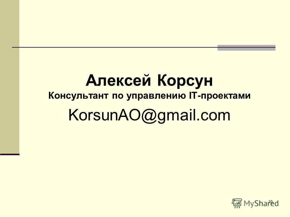 35 Алексей Корсун Консультант по управлению IT-проектами KorsunAO@gmail.com