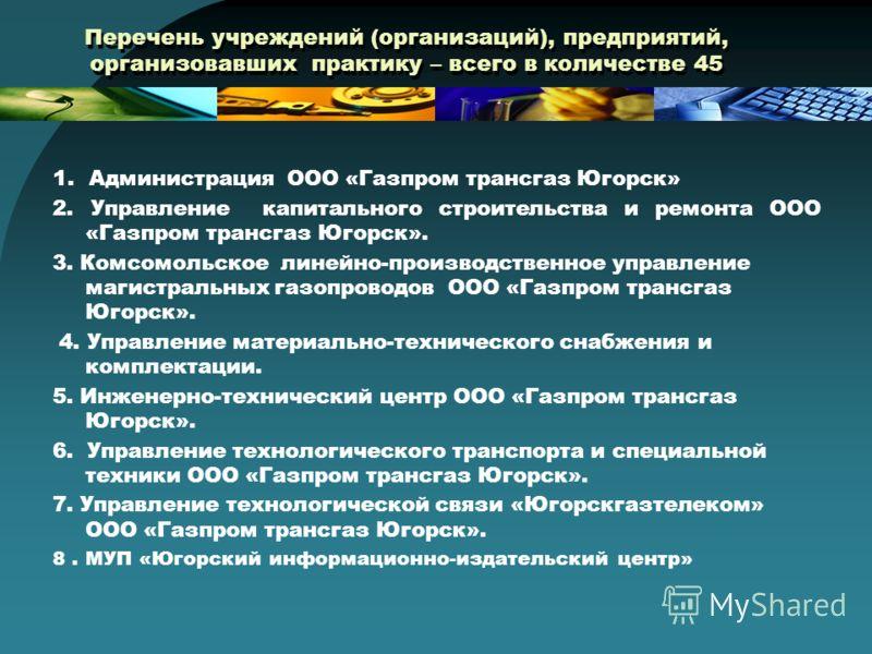 Перечень учреждений (организаций), предприятий, организовавших практику – всего в количестве 45 1. Администрация ООО «Газпром трансгаз Югорск» 2. Управление капитального строительства и ремонта ООО «Газпром трансгаз Югорск». 3. Комсомольское линейно-