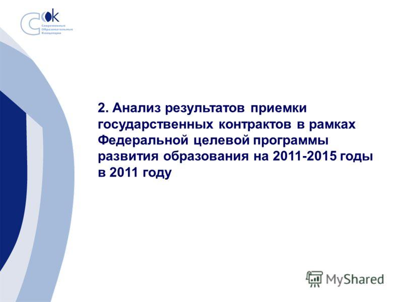 2. Анализ результатов приемки государственных контрактов в рамках Федеральной целевой программы развития образования на 2011-2015 годы в 2011 году