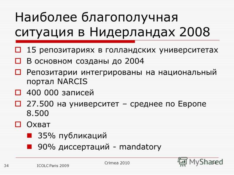 Crimea 201034 ICOLC Paris 200934 Наиболее благополучная ситуация в Нидерландах 2008 15 репозитариях в голландских университетах В основном созданы до 2004 Репозитарии интегрированы на национальный портал NARCIS 400 000 записей 27.500 на университет –