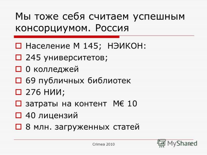 Crimea 20106 Мы тоже себя считаем успешным консорциумом. Россия Население M 145; НЭИКОН: 245 университетов; 0 колледжей 69 публичных библиотек 276 НИИ; затраты на контент M 10 40 лицензий 8 млн. загруженных статей