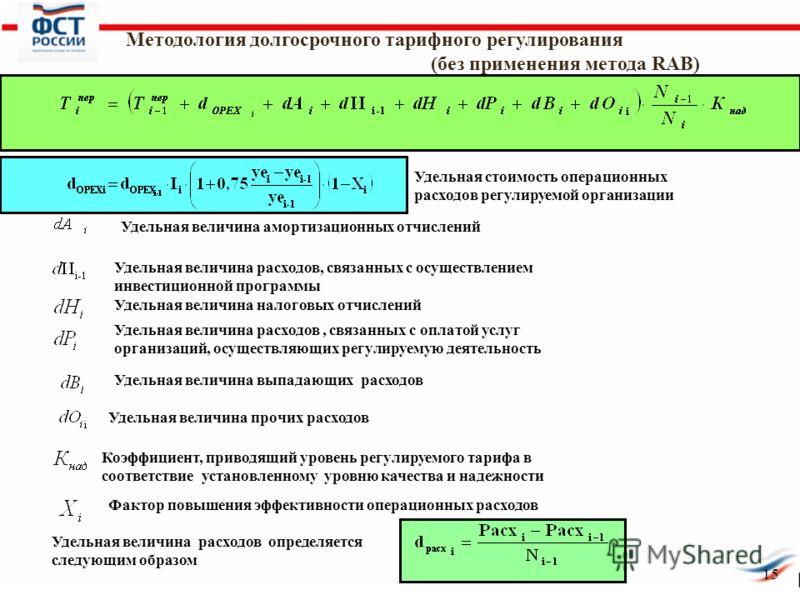 15 Методология долгосрочного тарифного регулирования (без применения метода RAB) Удельная стоимость операционных расходов регулируемой организации Удельная величина амортизационных отчислений Удельная величина расходов, связанных с осуществлением инв