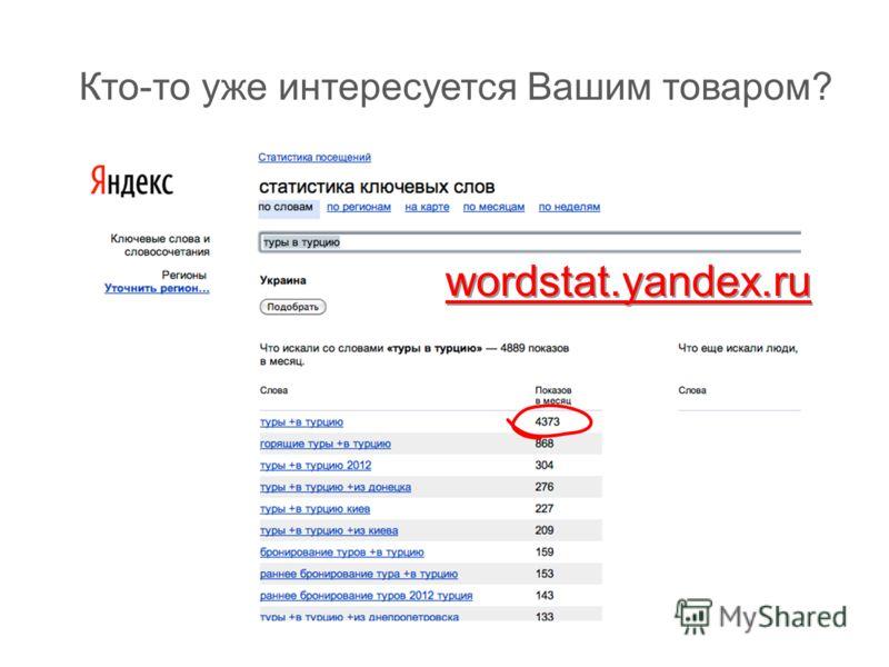 Кто-то уже интересуется Вашим товаром? wordstat.yandex.ru