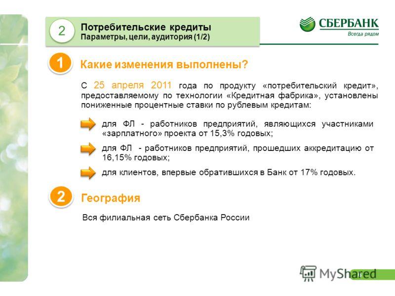 6 С 25 апреля 2011 года по продукту «потребительский кредит», предоставляемому по технологии «Кредитная фабрика», установлены пониженные процентные ставки по рублевым кредитам: Какие изменения выполнены? 1 1 Потребительские кредиты Параметры, цели, а