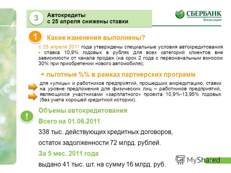 9 с 25 апреля 2011 года утверждены специальные условия автокредитования - ставка 10,9% годовых в рублях для всех категорий клиентов вне зависимости от канала продаж (на срок 2 года с первоначальным взносом 30% при приобретении нового автомобиля); Как